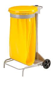support sac poubelle cuisine support sac poubelle roulant rossignol couvercle jaune manutan