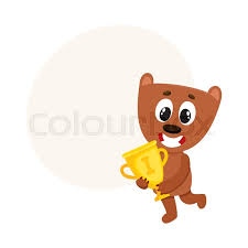 Cute Little Teddy Bear Character Champion Holding Golden Winner Cup Cartoon Vector Illustration With Space For Text Baby Animal