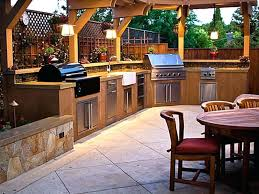 Outdoor Kitchen Lighting Ideas Classic Design With L Shaped Cabinets Using Rustic Pendant