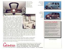 Found On Ebay 1998 Experience The Geneva Difference Conversion Van Truck Sales Brochure