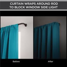 Double Traverse Curtain Rod Center Open by Eclipse Room Darkening Blackout Wrap Curtain Rod 48 86