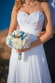 Beach Wedding Bouquet Ideas White Peonies Pearls Mesh Blue Starfishes