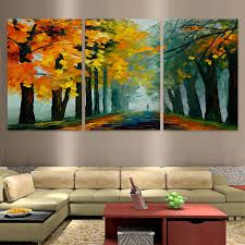 3 Pieces Watercolor Woodland Walkway Natural Landscape Home Wall Decor Canvas Picture Art HD Print Painting