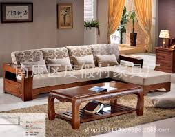 Chinese Oak Coffee Table Combination Of Solid Wood Sofa Cushion Cotton Size Apartment Living Room Furniture