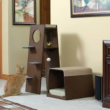 modern cat tower sauder woodworking modular 42 in modern cat tower walmart