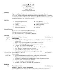 Summary Of High Energy Stage Manager With Supervisor Resume Objective Examples And Experience In Novonational Theatre Company