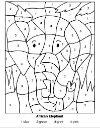 Elephant Coloring Pages For Teenagers Difficult Color By Number