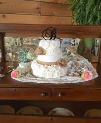 3 Tier Rustic Rosette Wedding Cake With Burlap On Central