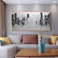 gezogen abstrakte moderne schwarz und weiß landschaft ölgemälde auf leinwand abstrakte kunst wandbild wohnzimmer schlafzimmer wand decorati