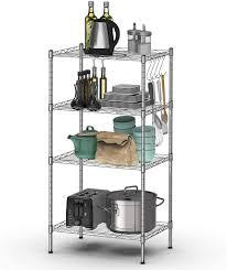 costway küchenregal metall mikrowellenregal freistehend lagerregal mit höhenverstellbaren regalböden drahtregal mit 4 haken standregal