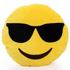 Suave Emoji Smiley Emoticon amarillo almohada cojn redondo
