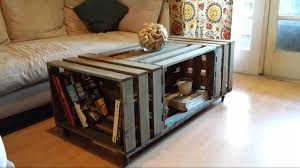 Rolling Rectangle Wood Crate Coffee Table Tables Nifty
