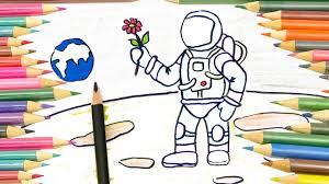 Drawing Astronaut On The Moon Coloring Videos Fun For Kids World