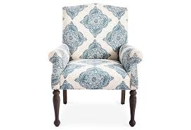 attractive blue and white accent chair blue floral tufted arm