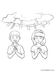 Boy And Girl Praying Coloring Page