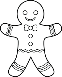 Christmas Gingerbread Man Coloring Pages Free Printable Regard Motivate Color Images Blank Sheet