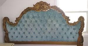 Blue Velvet King Headboard by Vintage Italian King Headboard Blue Velvet Tufted Ornate Carved