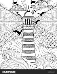 Hand Drawn Artistically Ethnic Ornamental Patterned Lighthouse With Clouds In Doodle Zentangle Tribal Style For Adult Coloring Book Pages Tattoo