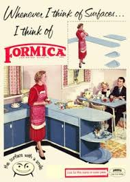Vintage Formica Kitchen Advertisement Poster 1950s Atomic Era Retro