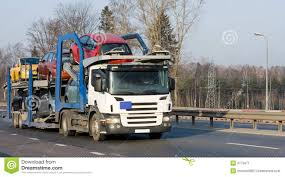 Car Carrier Truck Deliver New Auto Batch To Dealer Stock Image ...