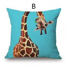 funny giraffe decorative pillows for brown couch blue home goods