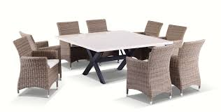 Details About NEW Sicillian 8 Seater Square Stone Dining Table And Chairs  In Half Round Wicker
