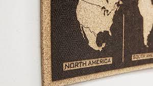 laser engraved cork tile world map