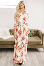 red ivory spring floral maxi modest dress best and affordable