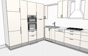 L Shaped Kitchen With Storage Wall 3D