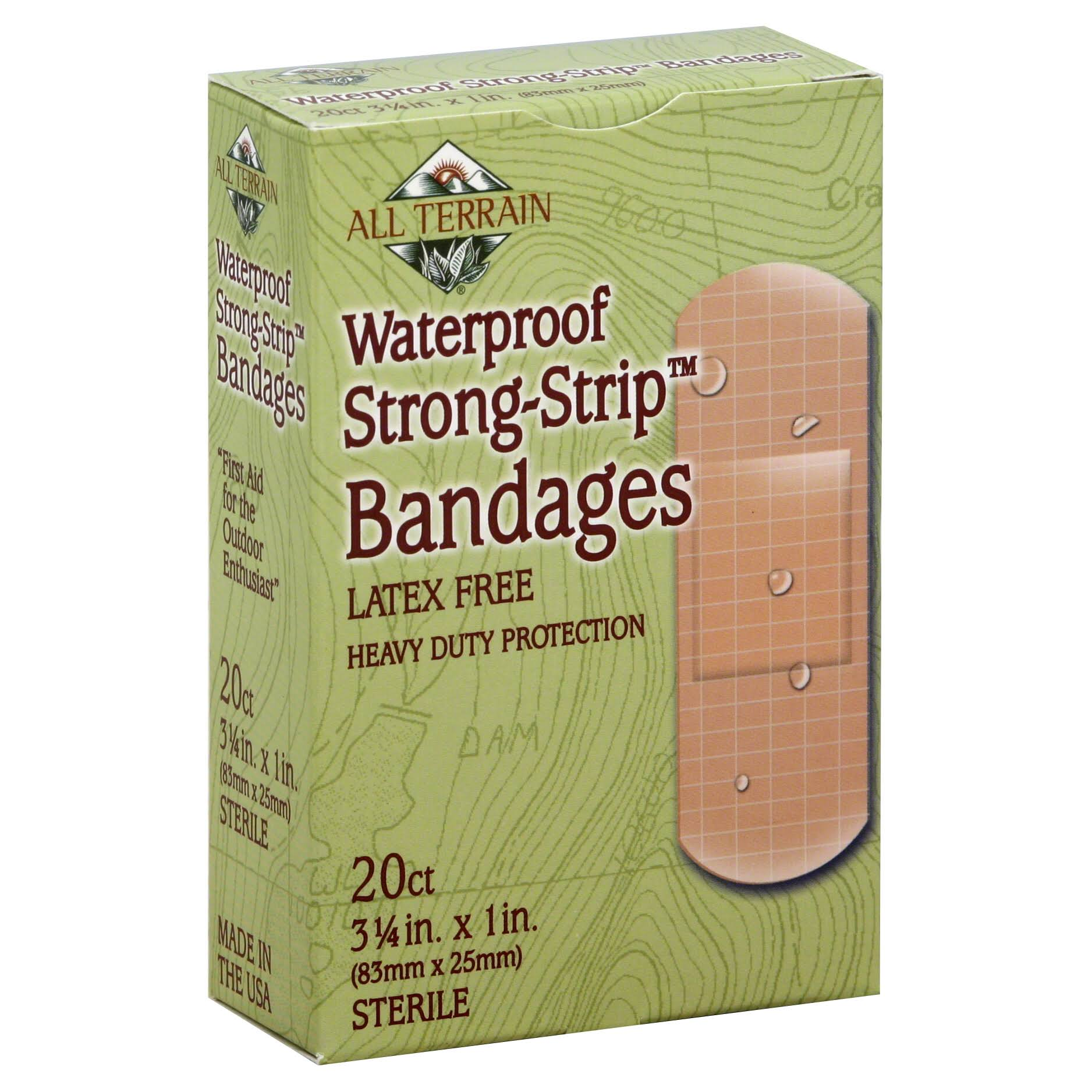 "All Terrain Waterproof Strong Strip Bandage - 1"" X 3.25"", 20 Count"
