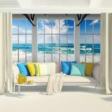 details zu fototapete fenster strand meer vliestapete blau weiss wohnzimmer schlafzimmer