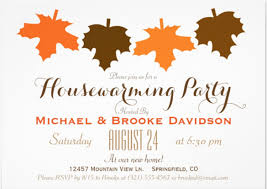 Orange Brown Fall Leaves Housewarming Party 5x7 Paper Invitation Card