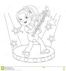 Royalty Free Vector Download Coloring Page Outline Of Girl Playing The Guitar