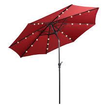 Solar Lighted Rectangular Patio Umbrella by Best Solar Patio Umbrellas And Umbrella Lights Ledwatcher