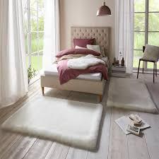 weicher kunstfell teppich bettumrandung superior uni white cremeweiß 2x 90x140 cm teppich