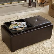 Furniture Brown Leather Storage Ottoman With Tray