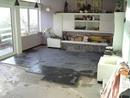 Living Room Slate Floor Installation