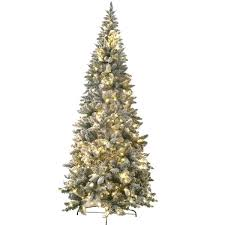 8 Foot Prelit Artificial Flocked Magnolia Fir Tree With 450 LED Warm Lights And Metal