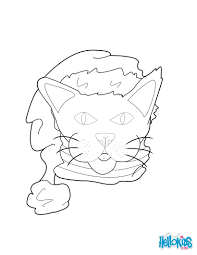 Cat And Mouse Friends With Santa Hat Coloring Page