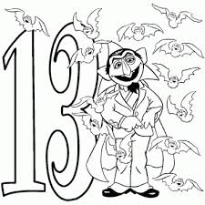 Count Von With Thirteen Bats Coloring Page Sesame Street Pages For Kids