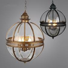 vintage loft globe pendant lights wrought iron glass shade kitchen