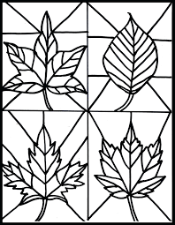 Fall Kid Craft Stained Glass Leaves Free Printable Sub Idea Autumn Coloring Pages Leaf Border Paper