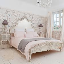 BedroomArtistic French Bedroom Decoration With Futuristic Wallpaper And Elegant Bed Idea Artistic