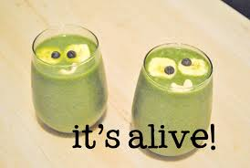 Kooky Spooky Frankenstein Green Smoothie With Googly Eyes