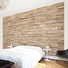 fototapete steintapete asian stonewall große helle steinmauer aus wohnlichen steinen vliestapete premium querformat tapete steinoptik beige
