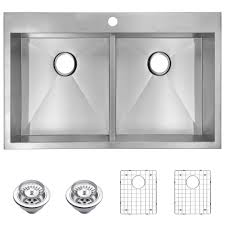 Overmount Double Kitchen Sink by Water Creation Drop In Zero Radius Stainless Steel 33 In 1 Hole