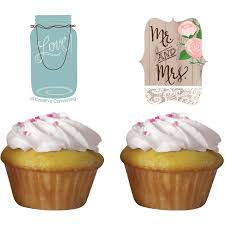 Rustic Wedding Cupcake Toppers 12 Pack