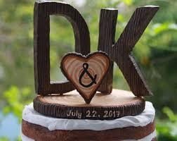 Letter D K Cake Topper Rustic Wedding