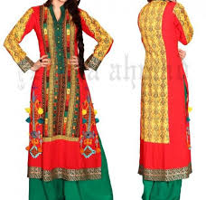 Stylish Plaine V Shaped With Bann Neck Designs For Casual Kurta Dresses