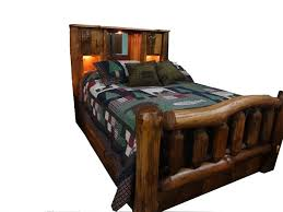 amish rustic pine log bed with bookcase headboard